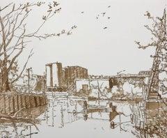 Canal Morning, framed