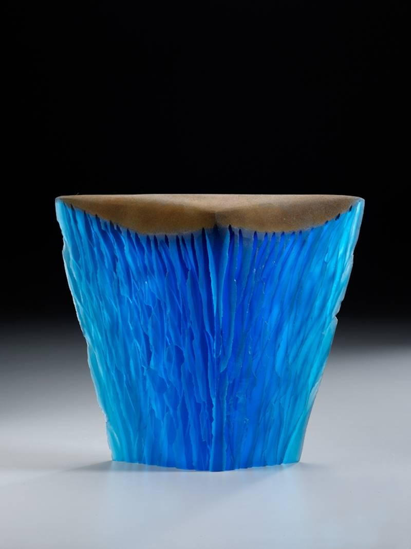 Blue Pour, Glass and Steel