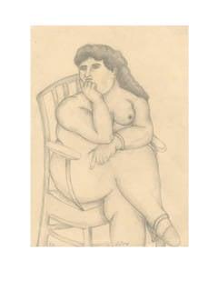 Mujer Desnuda en la Silla, Lithograph, Framed