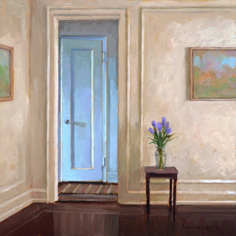 Paul Schulenburg Interior Painting - Purple Tulips by the Door, Framed