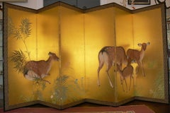 "Paravent ""Roe deers in a bamboo forest"" Paper, Silk and Wood 1921"