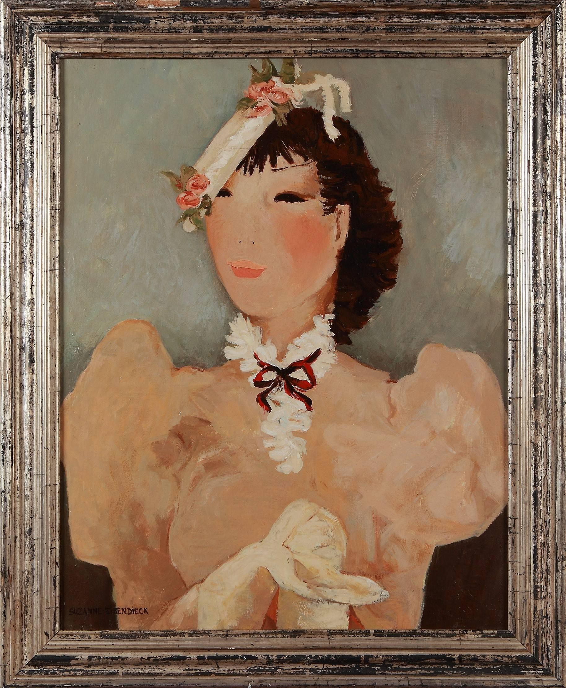 """Suzanne Eisendieck """"Chapeau Printanier. La Parisienne"""" Oil Painting on Canvas"""
