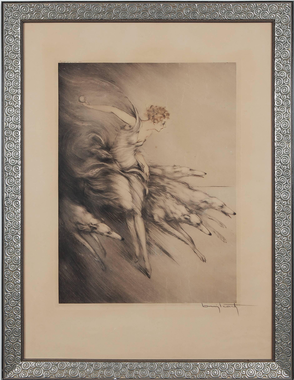 "Art Deco Etching ""Zest"" by Louis Icart"