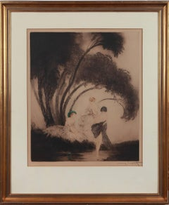 "Louis Icart Etching ""Badende"" ( Bathers ), 1926"