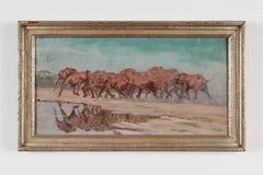 "Oil Painting ""Elefantenherde"" ( Elephant Flock ) by Rudolf Schulz-Borek, 1954"