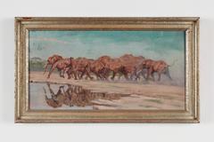 """Gemälde """"Elefantenherde"""" von Rudolf Schulz-Borek, Öl auf Leinwand"""