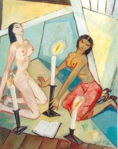 """""""Ekstatischer Kult"""" ( Ecstatic Cult ) Oil Painting 1953 by Walter Wellenstein"""