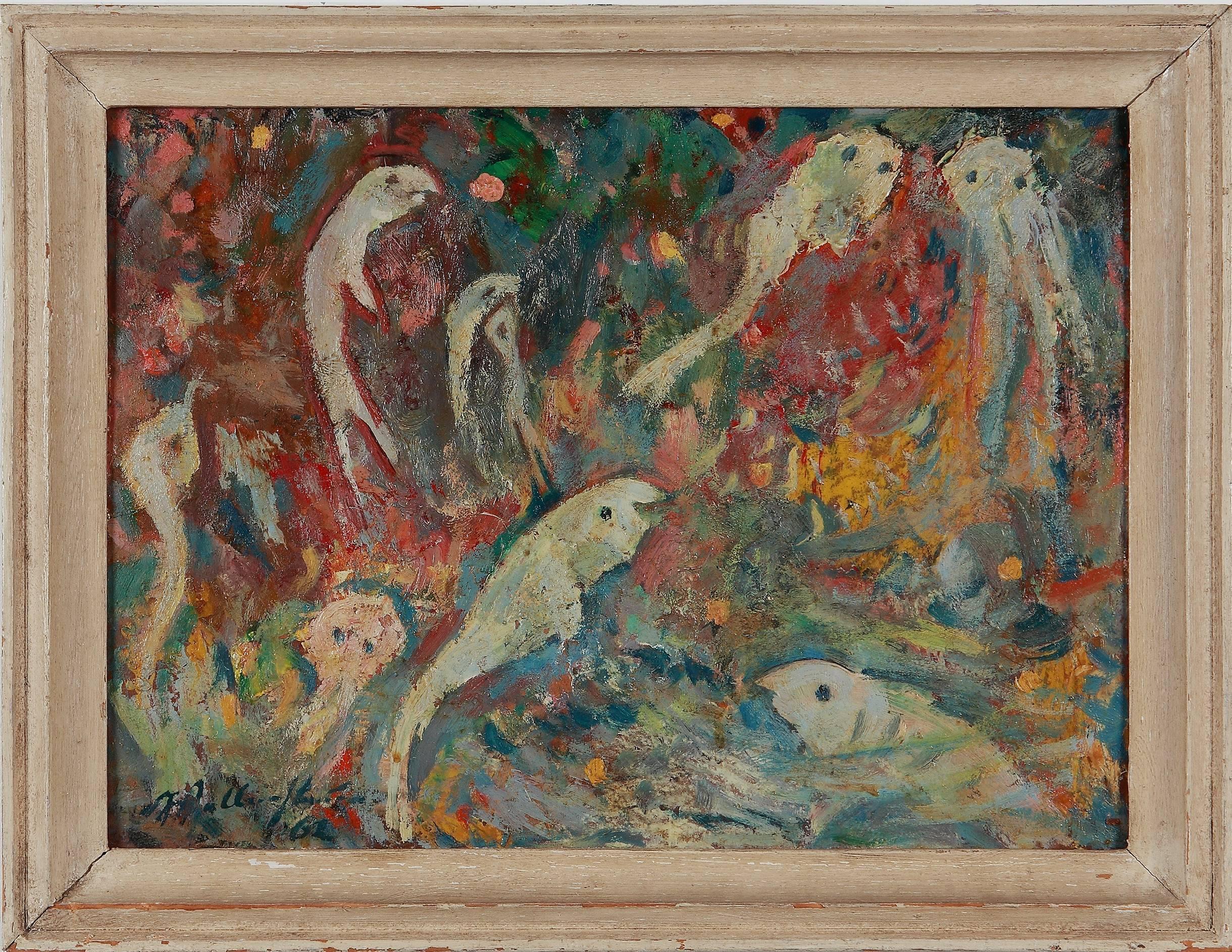"""""""Weisse Fische"""" ( White Fishes ) Oil Painting 1962 by Walter Wellenstein"""