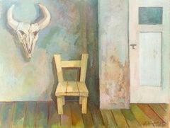 """""""Das graue Zimmer"""" ( Gray Room ) Oil Painting 1955 by Walter Wellenstein"""