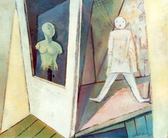 "Walter Wellenstein Oil Painting ""Bodenraum"" ( Floor Space ) 1953"
