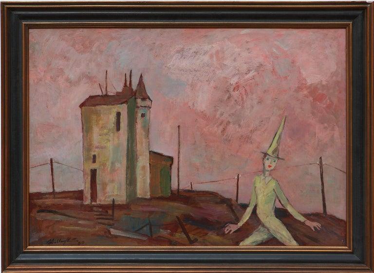 Walter Wellenstein Untitled Oil Painting 1960 - Brown Landscape Painting by Walter Wellenstein