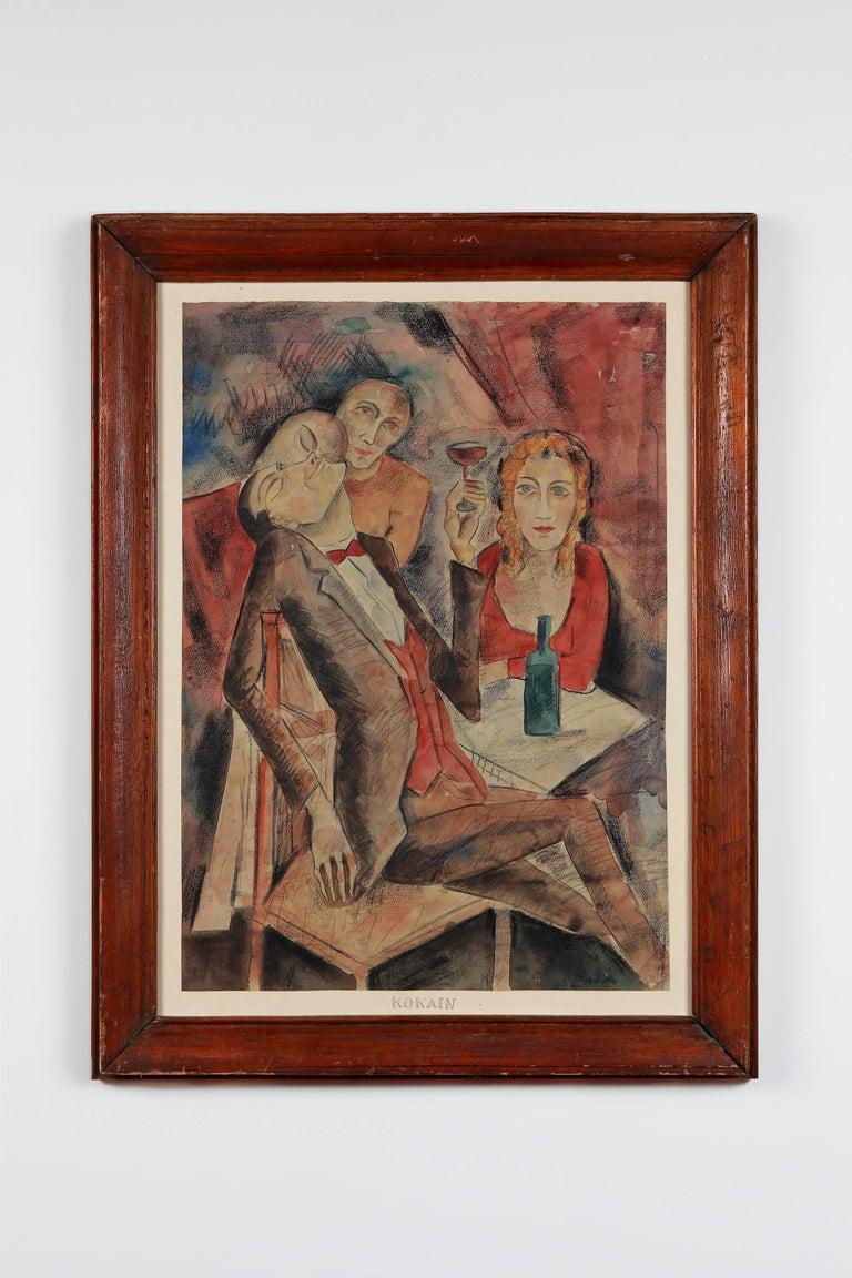 Mixed Media on papier. Signed lover right: ZAZA. Framed Measurements: 25.98 x 18.9 in ( 66 x 48 cm )  Zaza Tuschmalischvili ( born 15 May 1960 in Skra, Georgia ) is a Georgian painter, living and working in Berlin since 1991. Zaza Tuschmalischvili