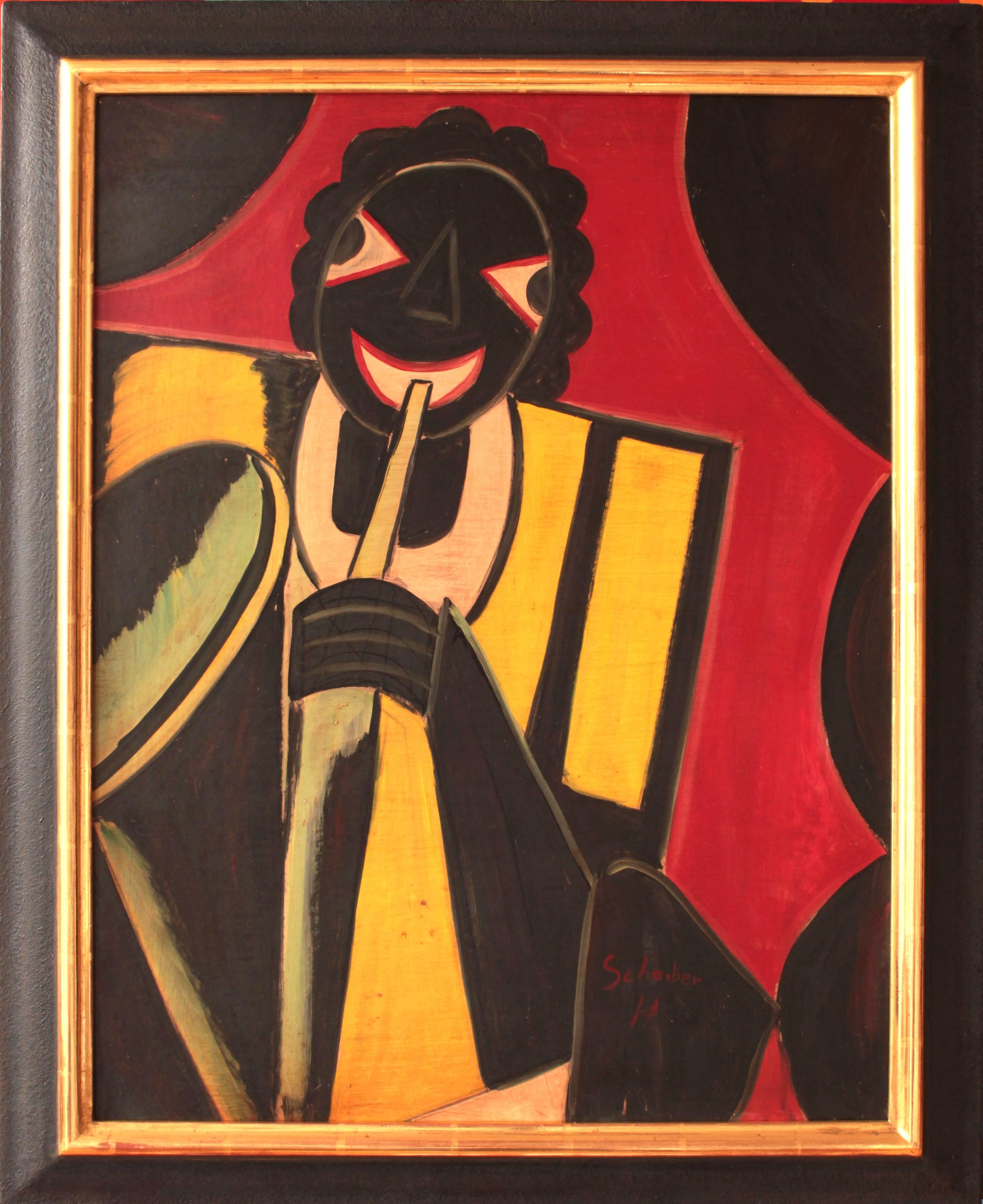 """Jazz Musician"" Oil Painting 1930 by Hugó Scheiber"