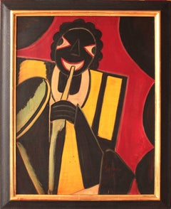 """Jazz Musician"" Oil Painting 1930 by Hugó Scheiber"