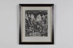 """Karl Holtz Lithograph """"Flusslandschaft"""" ( River Landscape )"""