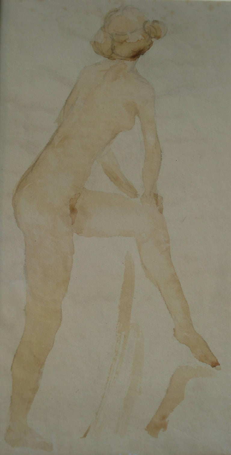"Karl Albiker ""Weiblicher Rückenakt"" Watercolor on Paper - Art by Karl Albiker"