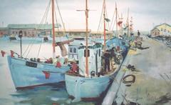 """""""Fischkutter am Kai"""" Oil Paint on Canvas 1964 by Clemens Neuhaus"""