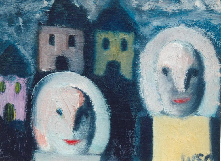 Oil on canvas, 1980's by William Skotte Olsen, Denmark. Monogrammed lower right: WSO. Framed Typical are the figures whose faces appear flat and mask-like. In the 1980's and 1990's Olsen created many different compositions with this type of