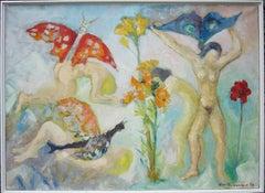 """Les Femmes Papillons"" Oil Painting 1979 by Helene de Beauvoir"