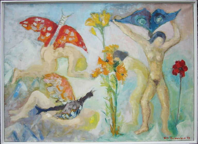 Oil on canvas, 1979 by Hélène de Beauvoir. Signed and dated lower right: H de Beauvoir 79. Verso inscribed. Framed. 28.74 x 39.37 in ( 73 x 100 cm )