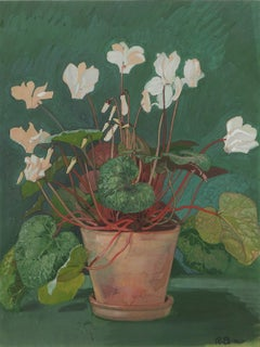 "Richard Böhland Watercolor ""Alpenveilchentopf"" ( Pot with Cyclamen ), 1902"
