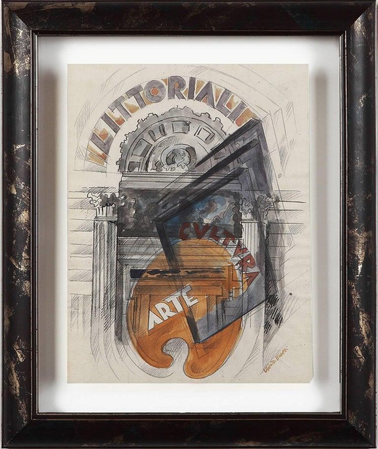 """Uberto Bonetti """"Littoriali, cultura e arte"""" Watercolor on Paper - Mixed Media Art by Uberto Bonetti"""
