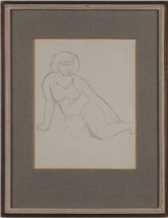 """Seated Female Nude"" Drawing by Abram Adolphe Milich, 1920s"