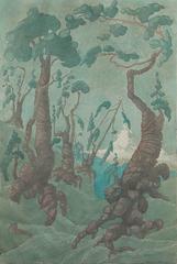 "Watercolor on Cardboard ""Arven am Matterhorn"" by Carmina Manger, 1929"