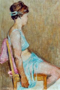 """""""Sitzende Tänzerin"""" ( Seated Dancer ) Oil Paint by Viktor V. Adamkewitsch"""