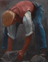 """""""Steinhebender Arbeiter"""" Oil Painting 1932 by Ernst Neuschul"""