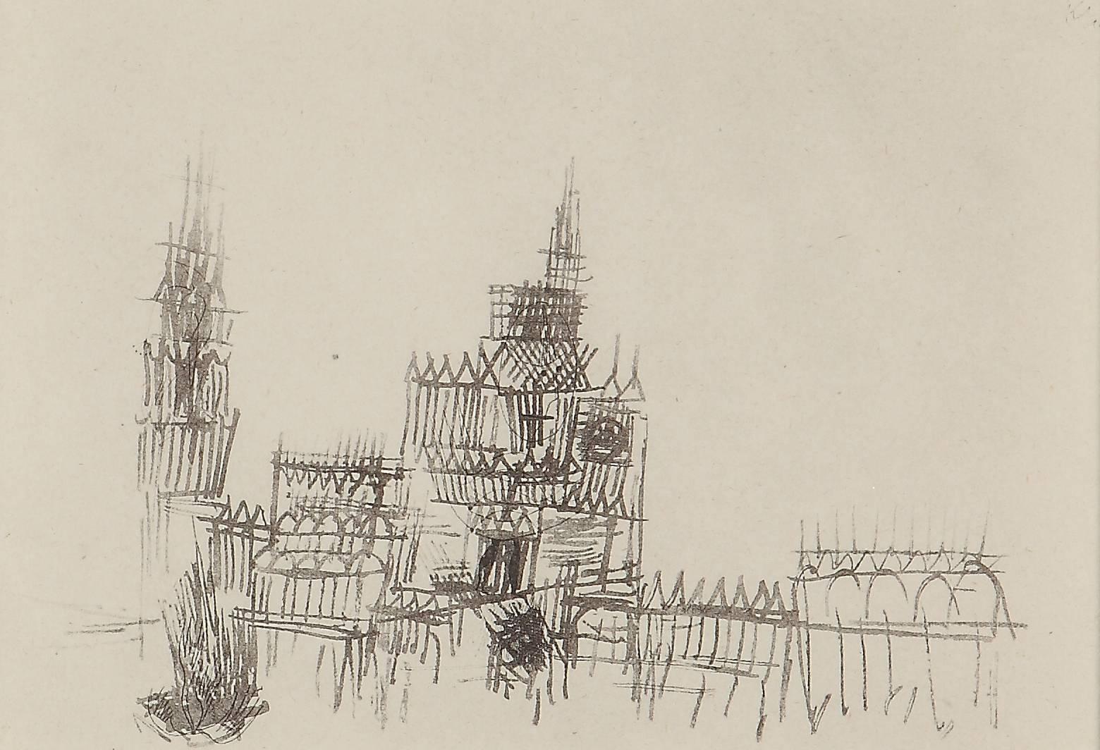 """Paul Klee Etching """"Niederländische Katedrale"""""""