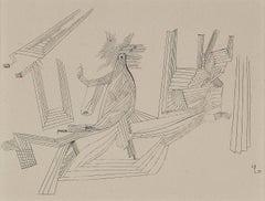 """Paul Klee Etching """"Die Szene mit der Laufenden"""""""
