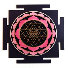 """Sri Yantra"" Acrylic Paint on Wood Panel by Udo Haderlein"