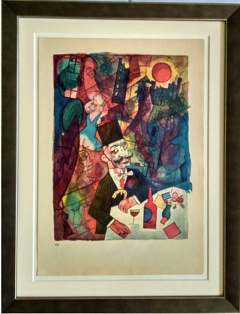 Color Lithograph on handmade paper from Ecce Homo, by George Grosz, 1918 Printed by Kunstanstalt Dr. Selle & Co. AG, Berlin Published by Malik Verlag, 1923 Numbered in Roman numerals lower left. Here number VIII framed, under museum glass.