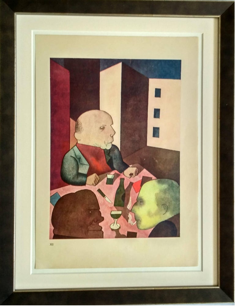 Color Lithograph on handmade paper from Ecce Homo, by George Grosz, 1921 Printed by Kunstanstalt Dr. Selle & Co. AG, Berlin. Published by Malik Verlag, 1923 Numbered in Roman numerals lower left. Here number XII. Under museum glass