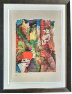 """George Grosz Lithograph """"Dämmerung"""" (Twilight ), 1922"""