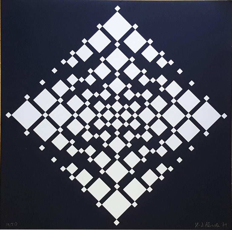 Serigraph, 1971 by HD Schrader, Germany. Here number 9 from edition of 50. Signed and dated lower right. Numbered lower left. Dimensions: 18.9 x 18.9 in ( 48 x 48 cm ) Unframed.  HD Schrader ( 1945, Bad Klosterlausnitz ), born Hans-Dieter Schrader,