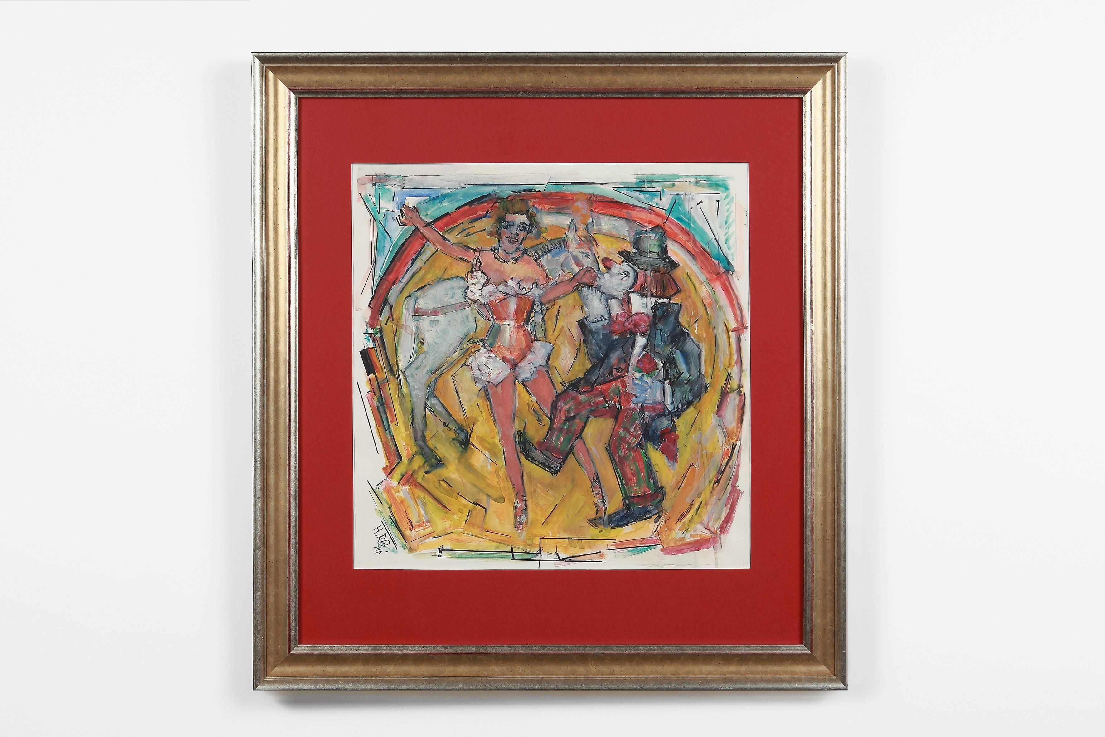 "Heinrich Richter ""Zirkus"" ( Circus ) Oil Paint on Board 1979"