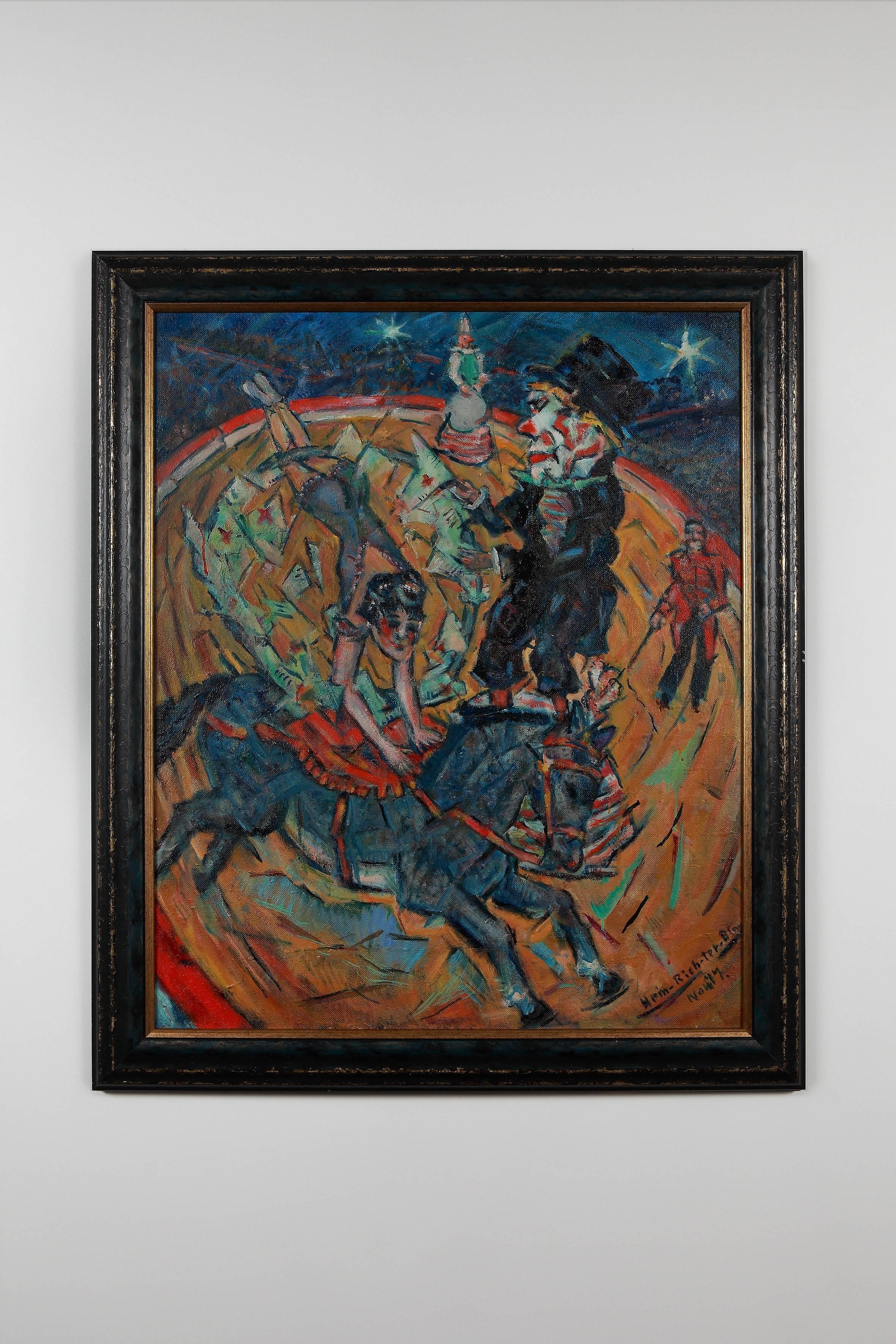 """Heinrich Richter """"Der alte Clown"""" ( The Old Clown ) 1977 Oil Paint on Board"""