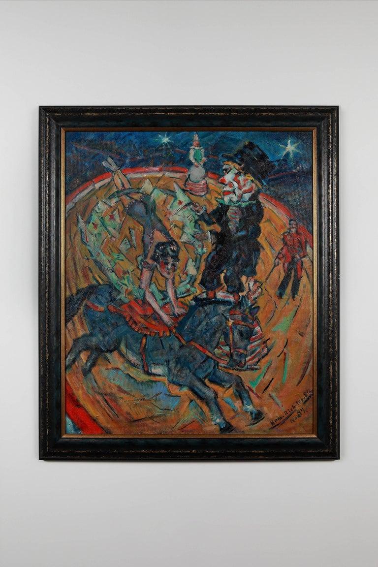 "Heinrich Richter (b.1884) Figurative Painting - Heinrich Richter ""Der alte Clown"" ( The Old Clown ) 1977 Oil Paint on Board"