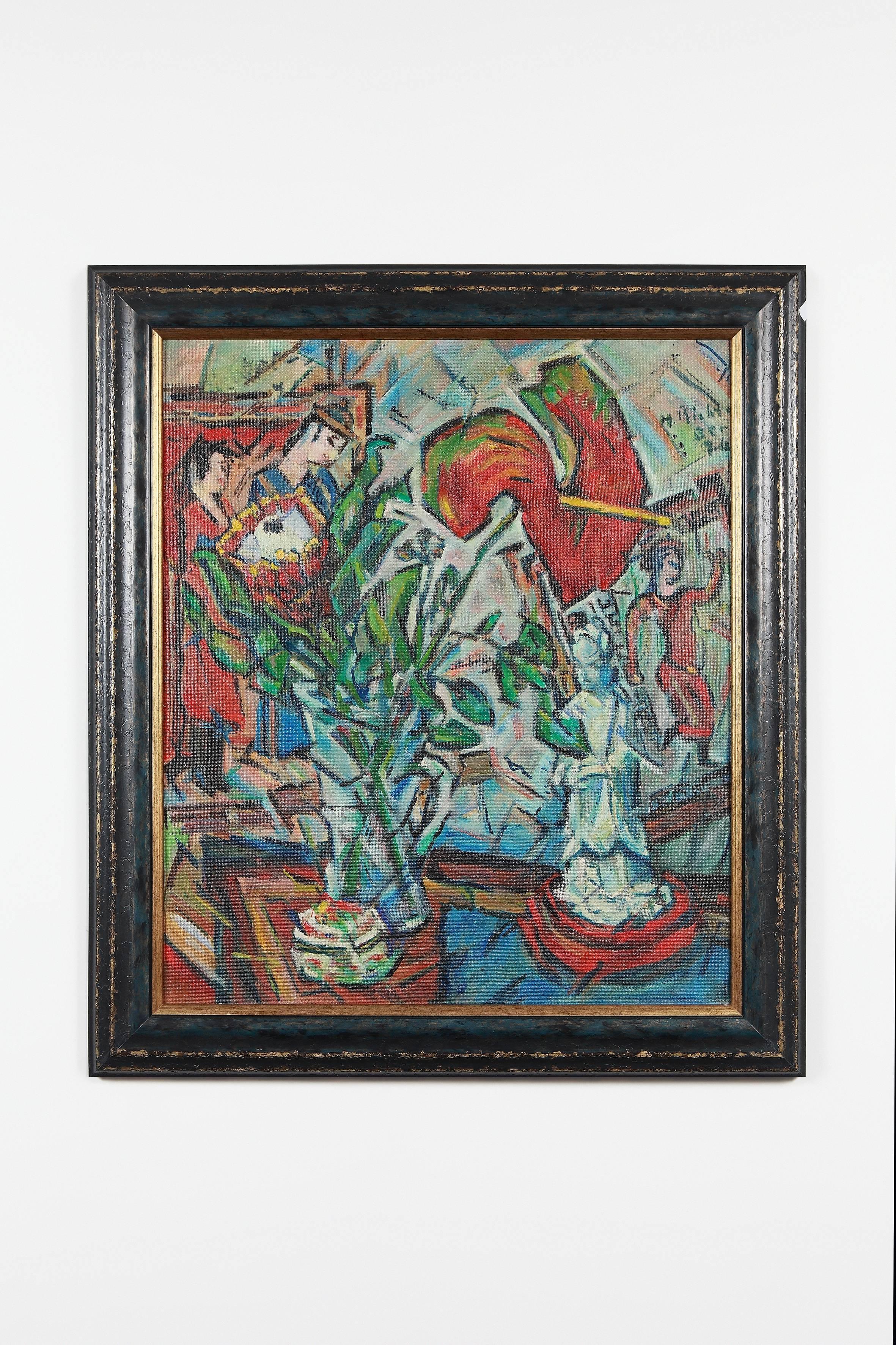 """Oil Paint on Board """"Anturie und Protea"""" by Heinrich Richter-Berlin"""
