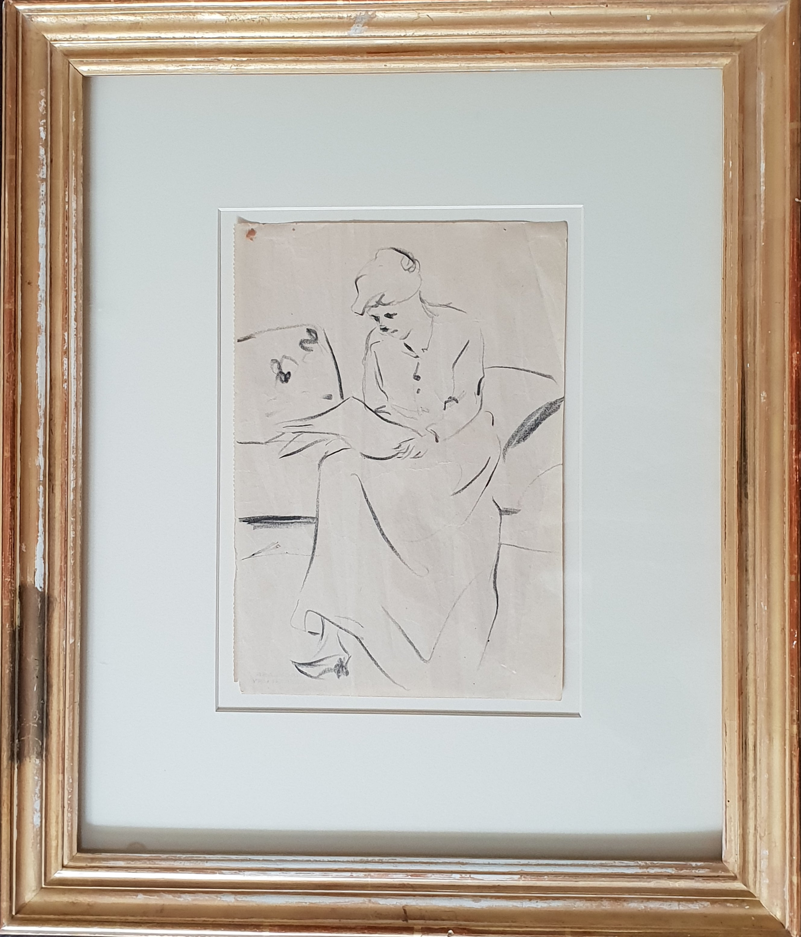 Pencil drawing by lesser ury about 1900