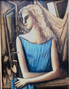 "Horst Strempel Pastel ""Mädchen am Fenster"" ( A Girl at the Window ), 1958"