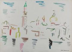 """Watercolor on Paper """"San Marco - Venezia"""" by Helene de Beauvoir, 1960"""