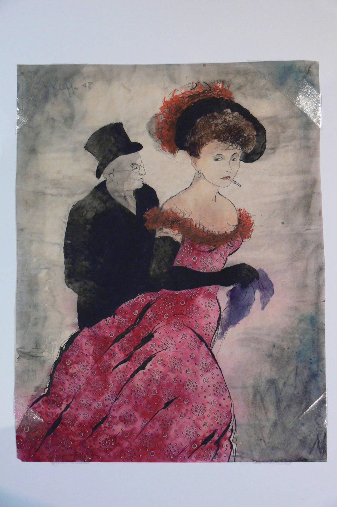 "Erhard Klepper Watercolor Gouache Painting "" In Begleitung"", 1948"
