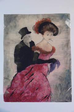 "Erhard Klepper Watercolor Gouache Painting "" In Begleitung"", 1947"
