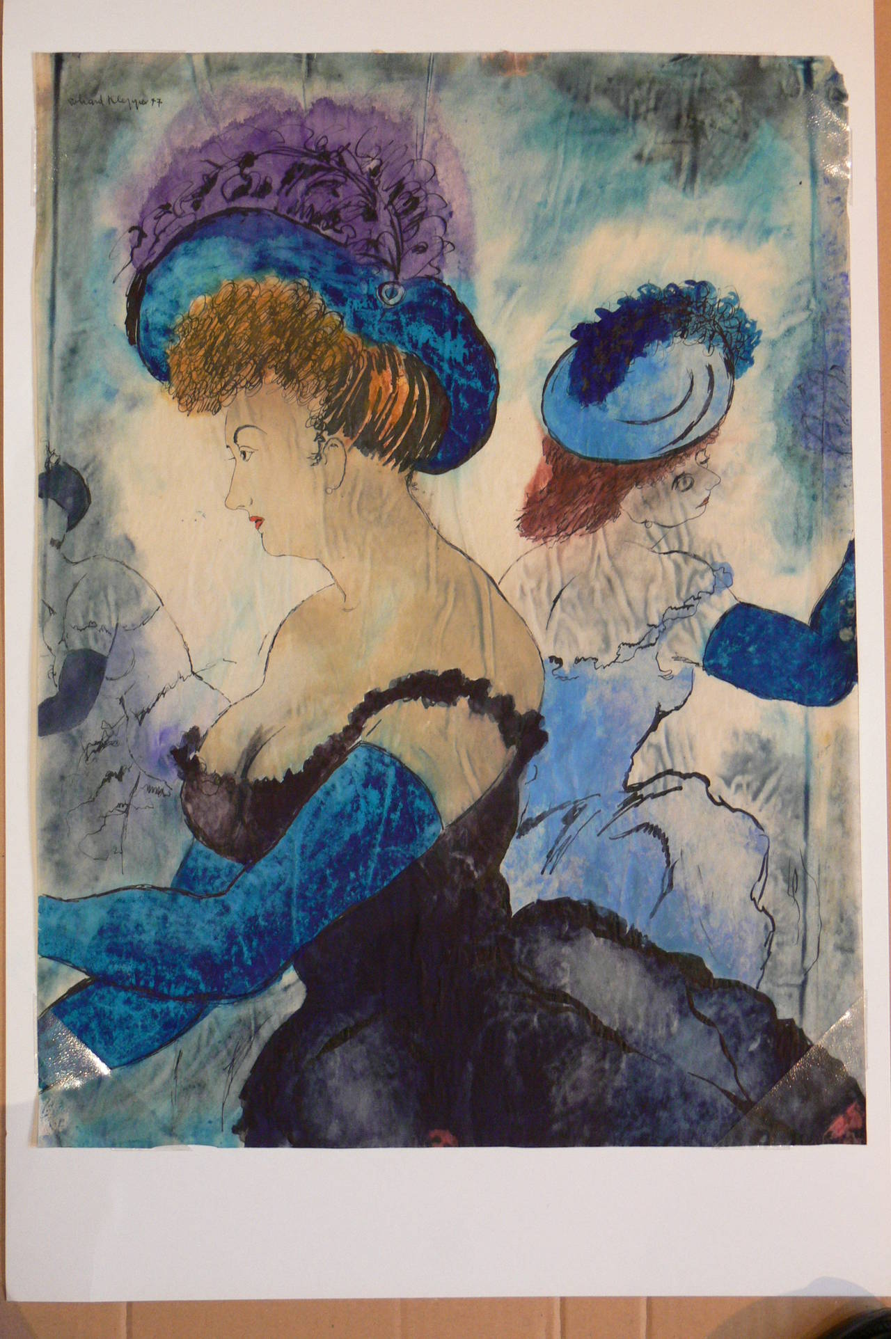 "Erhard Klepper Watercolor Gouache Painting ""Damen in Ballroben"", 1947"