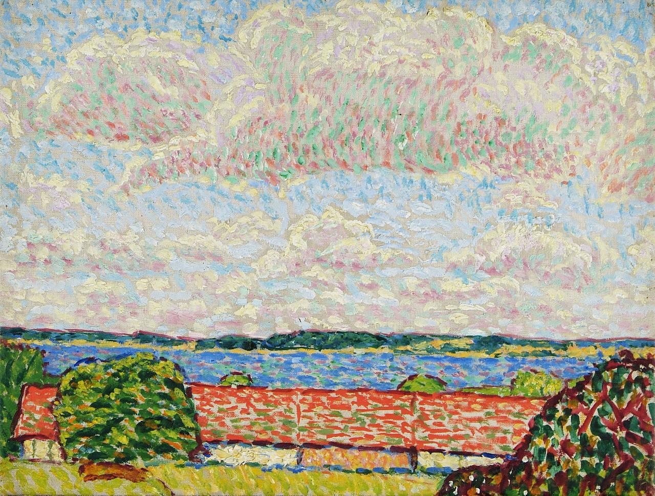 "Hans Michaelson Oil Paint on Canvas ""Seelandschaft mit hohem Himmel"", 1909-1912"