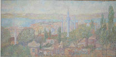 "Stan Reszka Oil Paint on Canvas ""A View over Istanbul"", 1951"