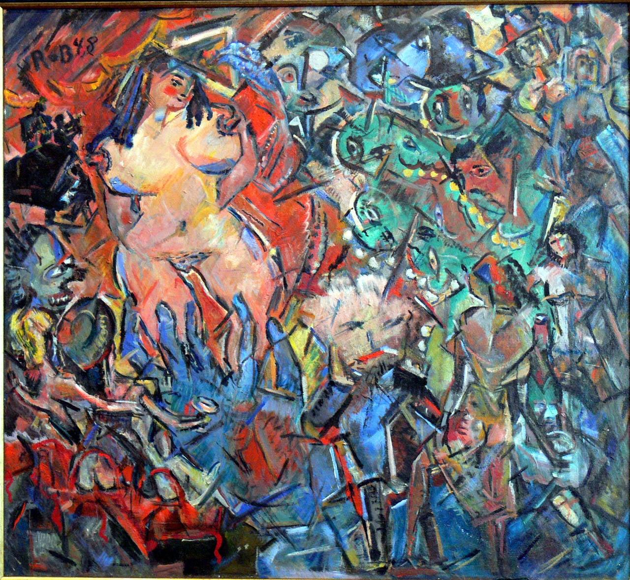 """Oil Painting """" Striptease in a Berlin Bar"""" bei Heinrich Richter-Berlin, 1948"""